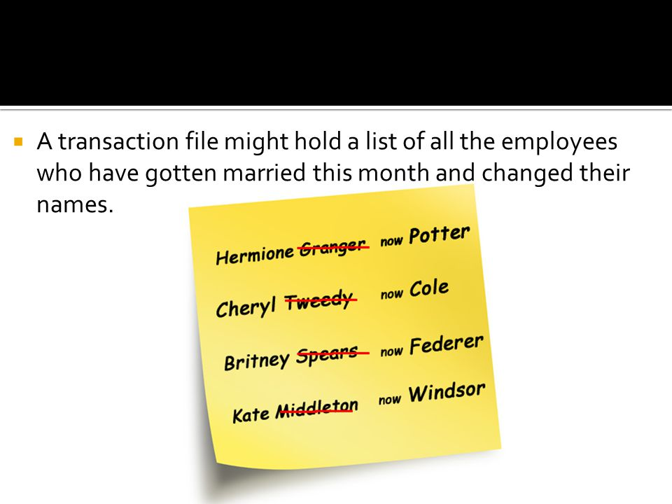 A transaction file might hold a list of all the employees who have gotten married this month and changed their names.