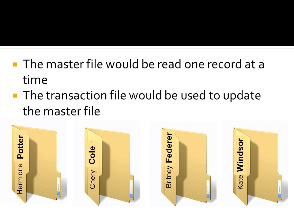 The master file would be read one record at a time