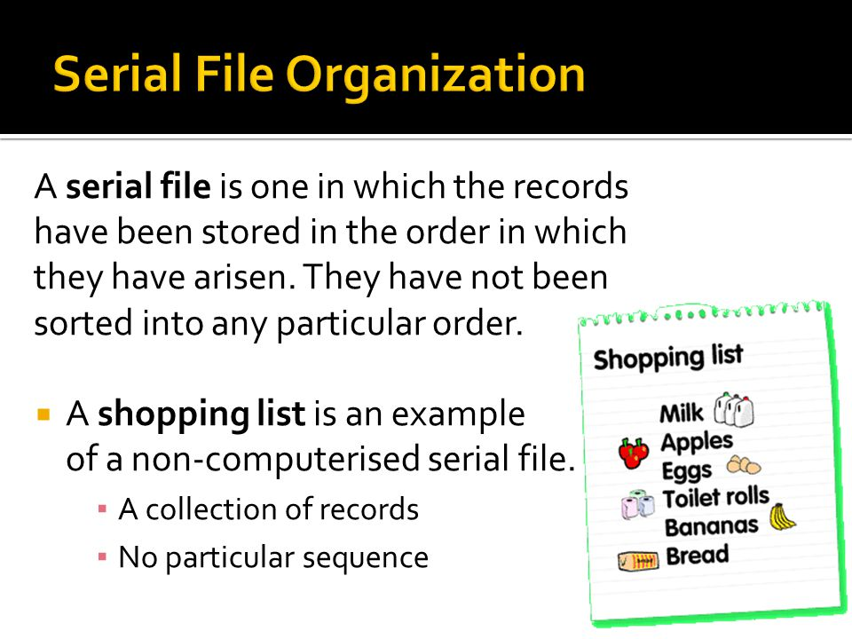 Serial File Organization