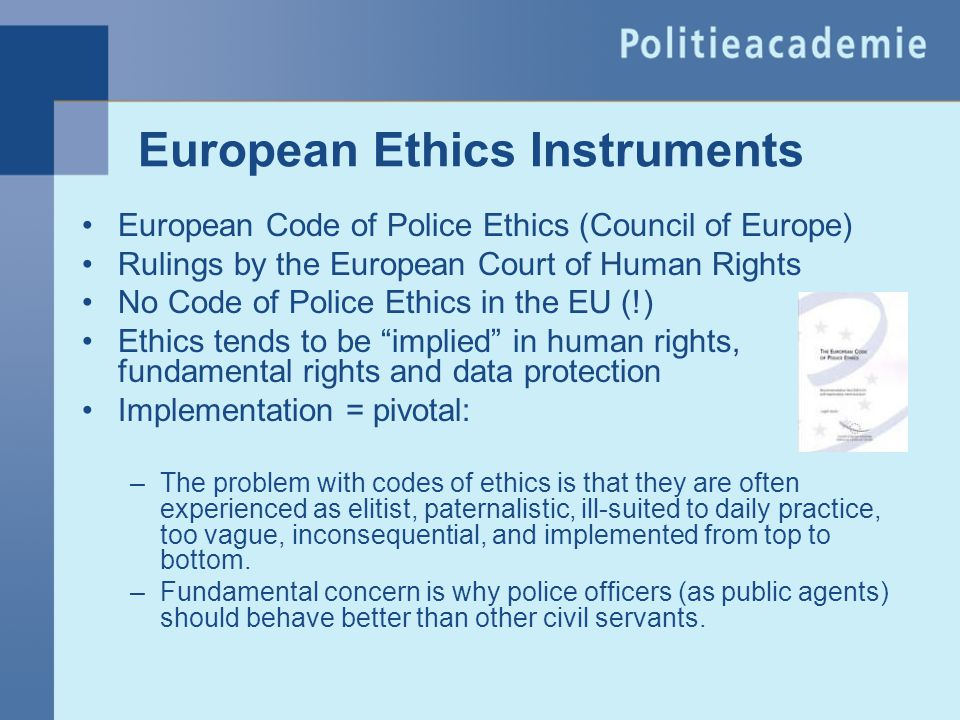 European Ethics Instruments