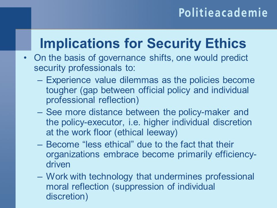Implications for Security Ethics