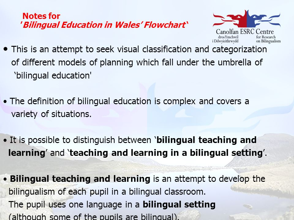 Notes for 'Bilingual Education in Wales' Flowchart '
