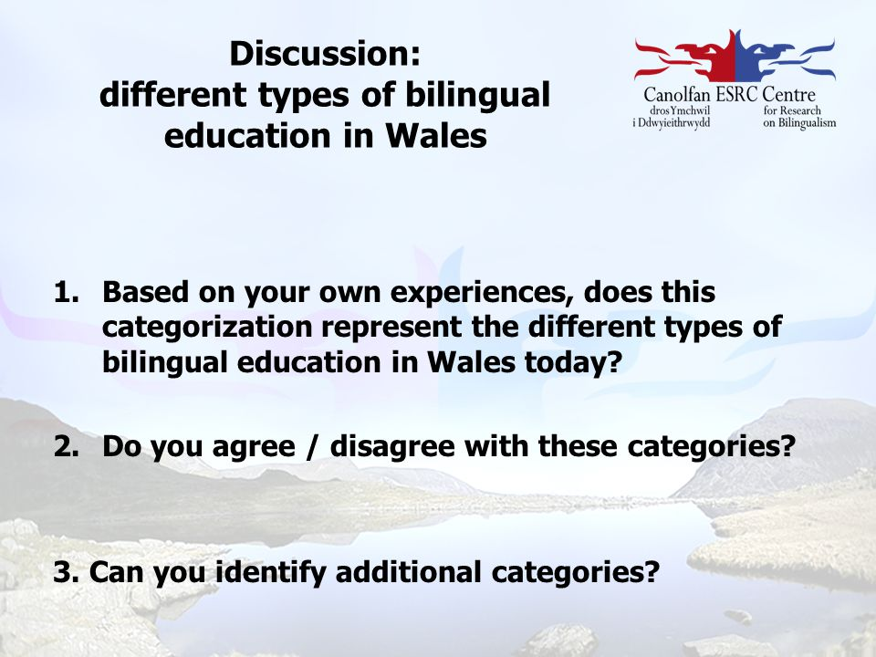 Discussion: different types of bilingual education in Wales