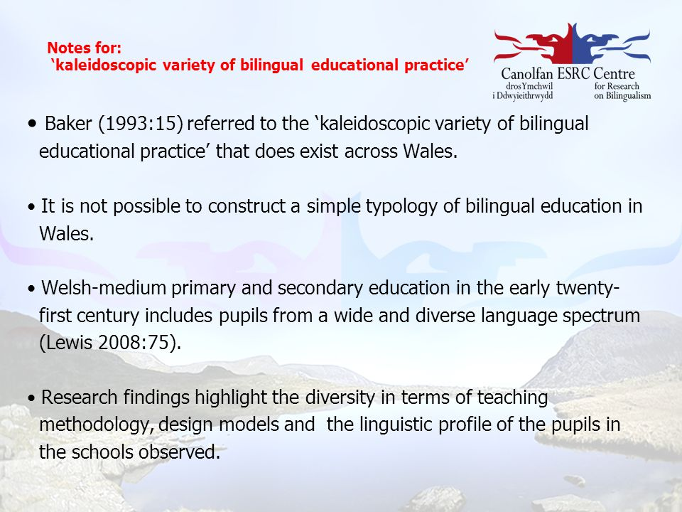 Notes for: 'kaleidoscopic variety of bilingual educational practice'