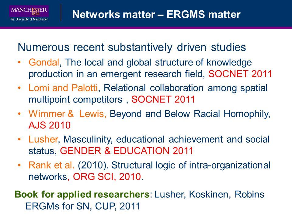 Numerous recent substantively driven studies