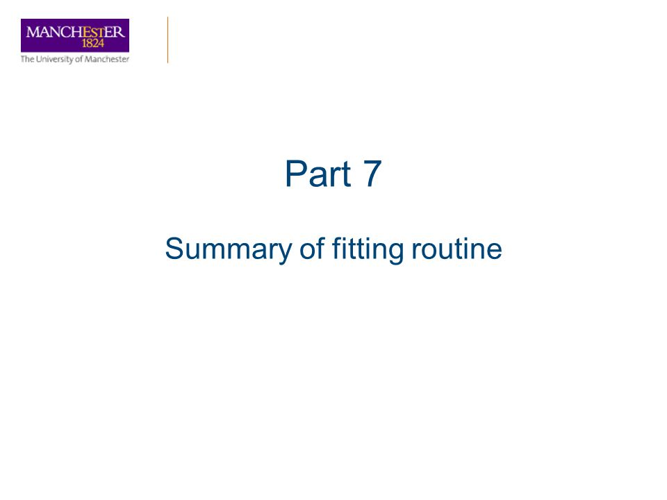 Summary of fitting routine