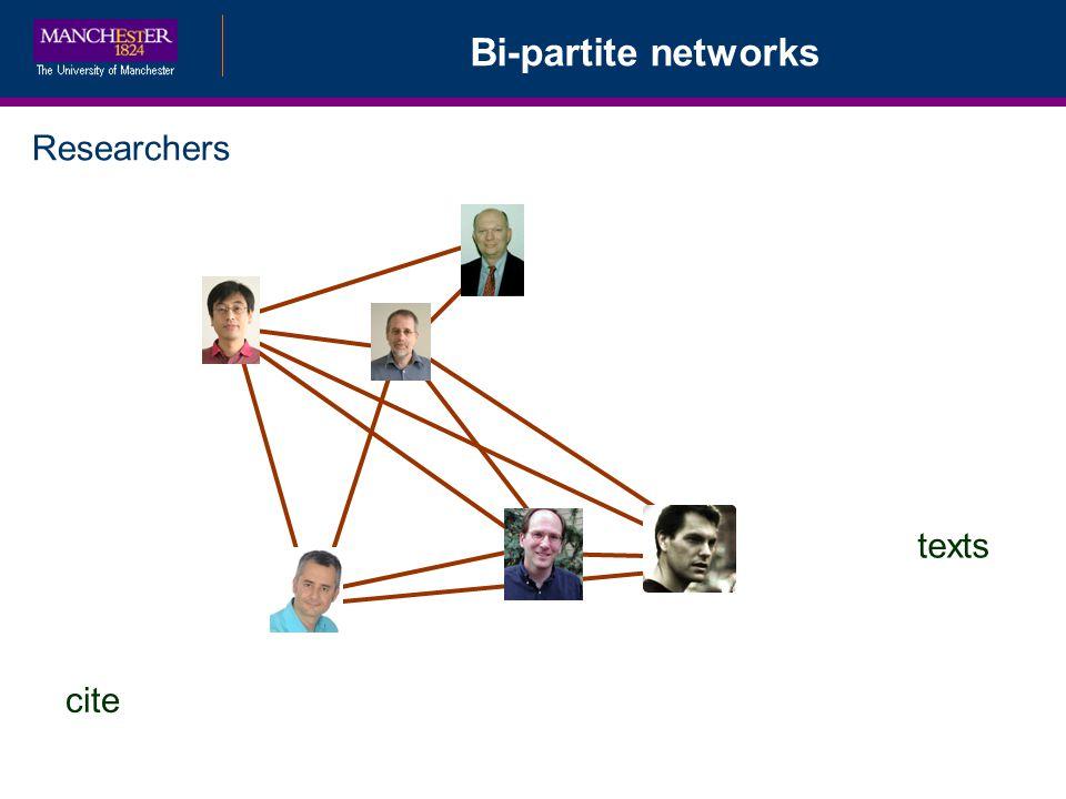 Bi-partite networks Researchers texts cite