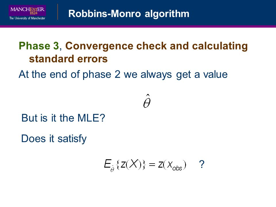 Phase 3, Convergence check and calculating standard errors