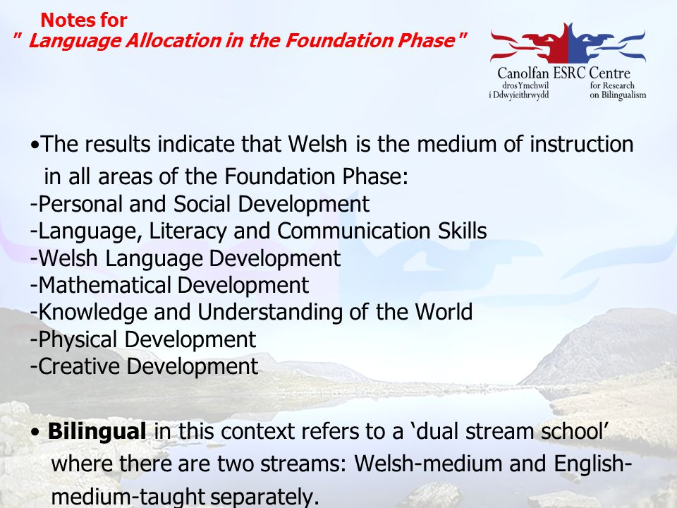 The results indicate that Welsh is the medium of instruction
