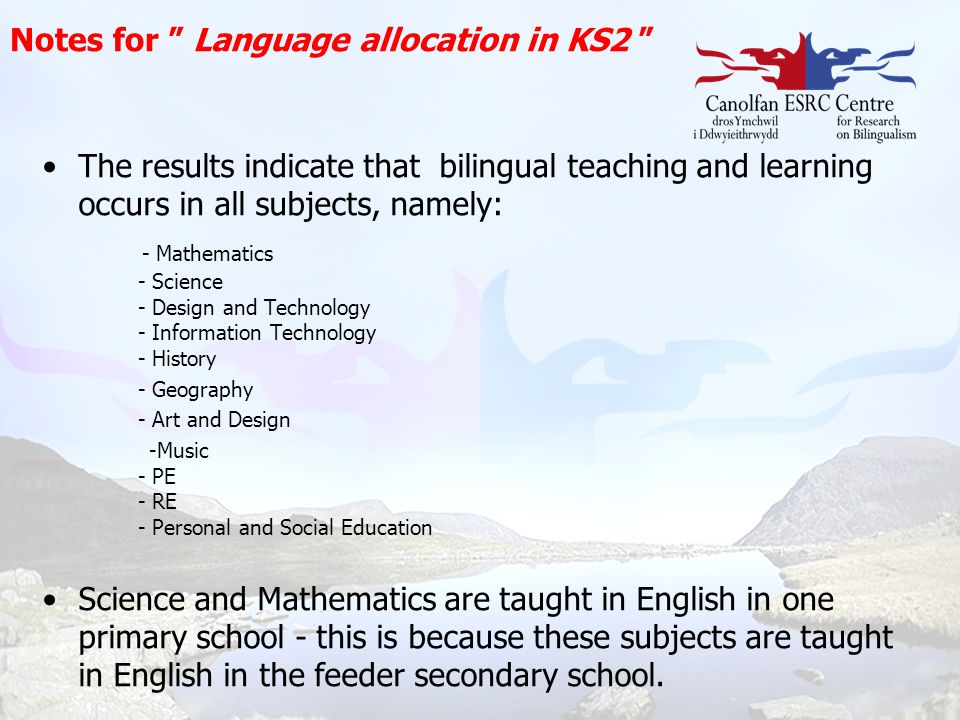 Notes for Language allocation in KS2