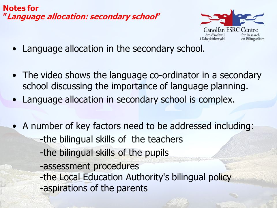 Language allocation in the secondary school.