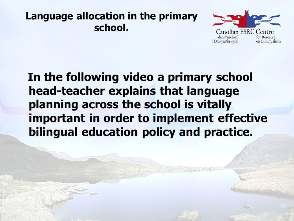 Language allocation in the primary school.