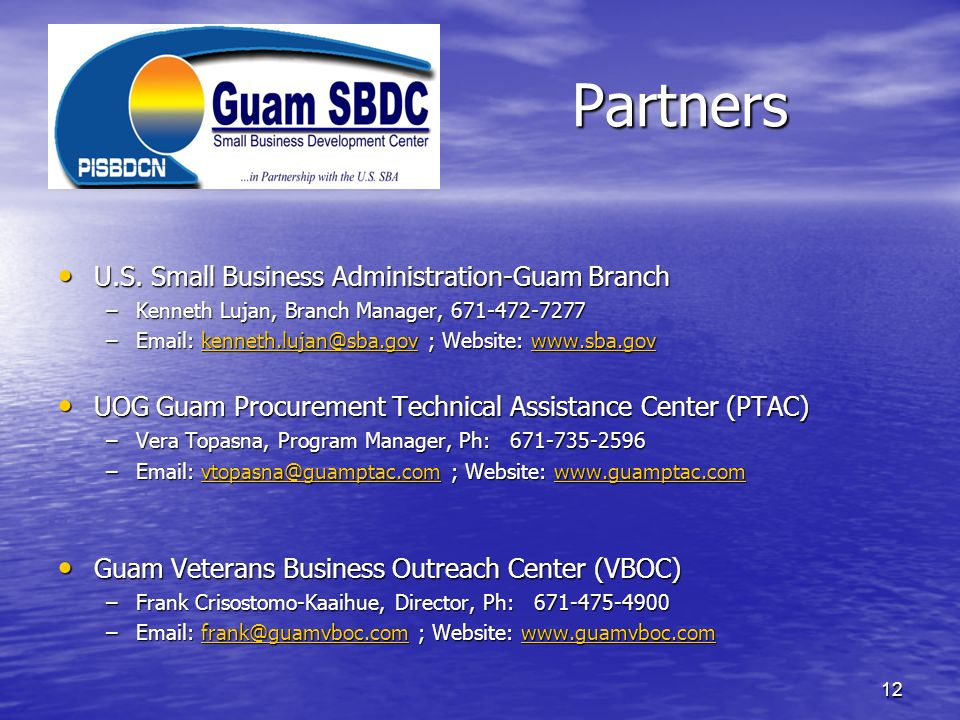 Partners U.S. Small Business Administration-Guam Branch