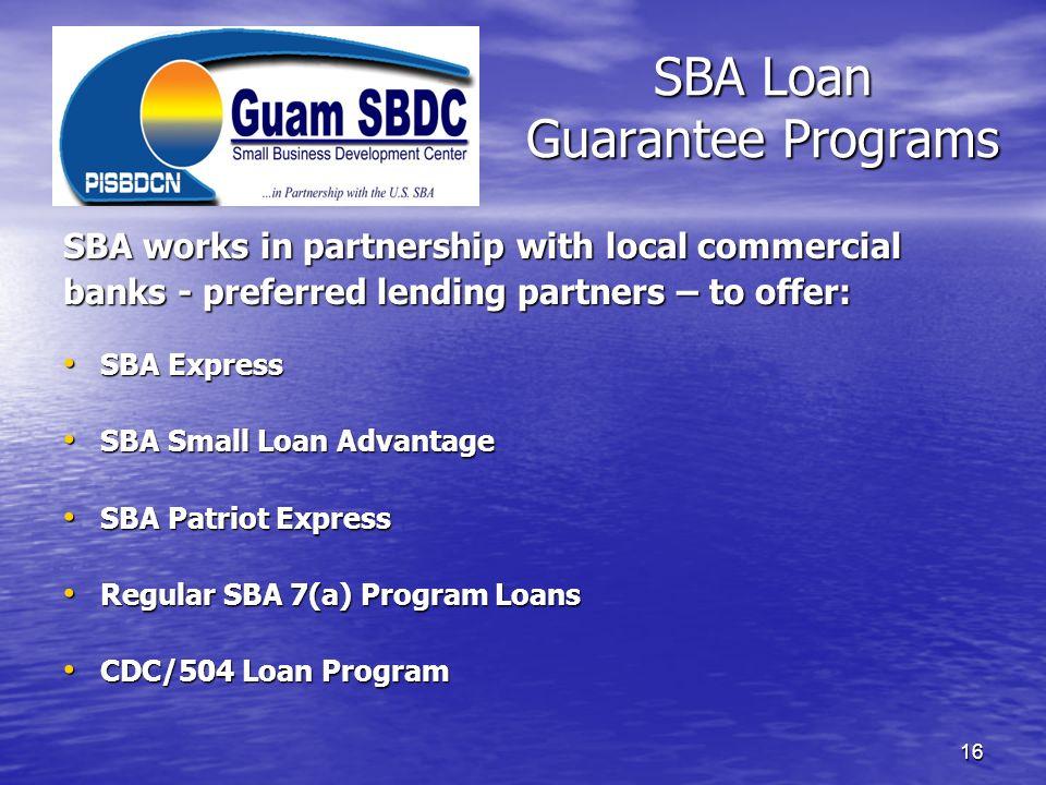 SBA Loan Guarantee Programs