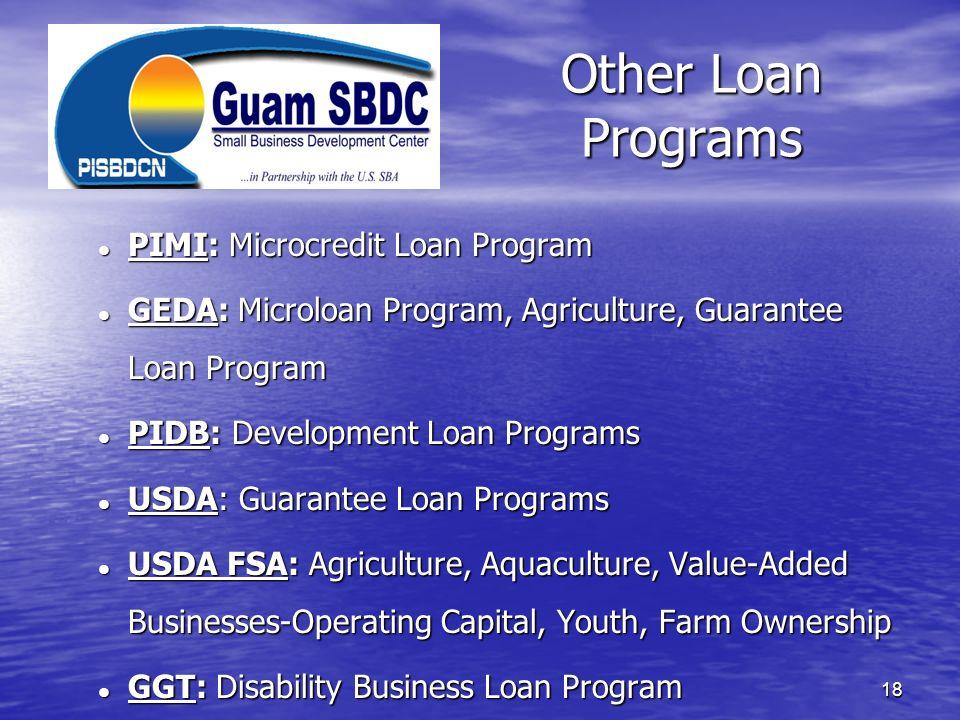 Other Loan Programs PIMI: Microcredit Loan Program