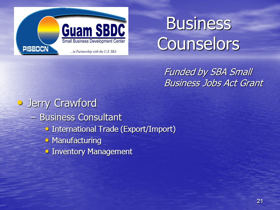 Business Counselors Jerry Crawford