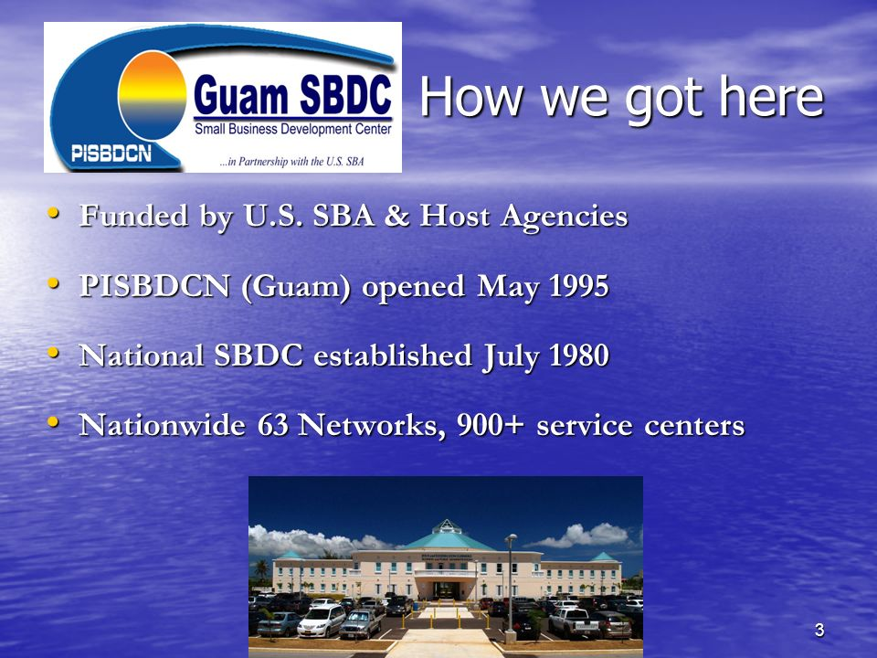 How we got here Funded by U.S. SBA & Host Agencies