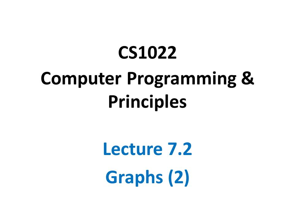 CS1022 Computer Programming & Principles