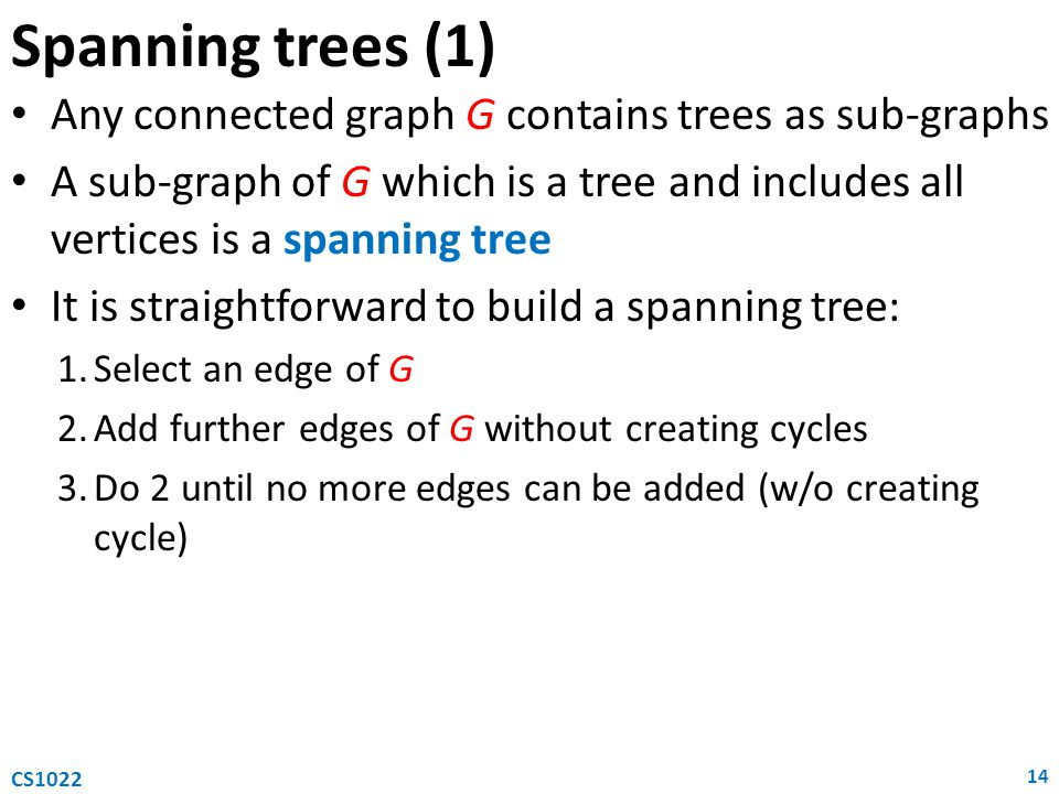 Spanning trees (1) Any connected graph G contains trees as sub-graphs
