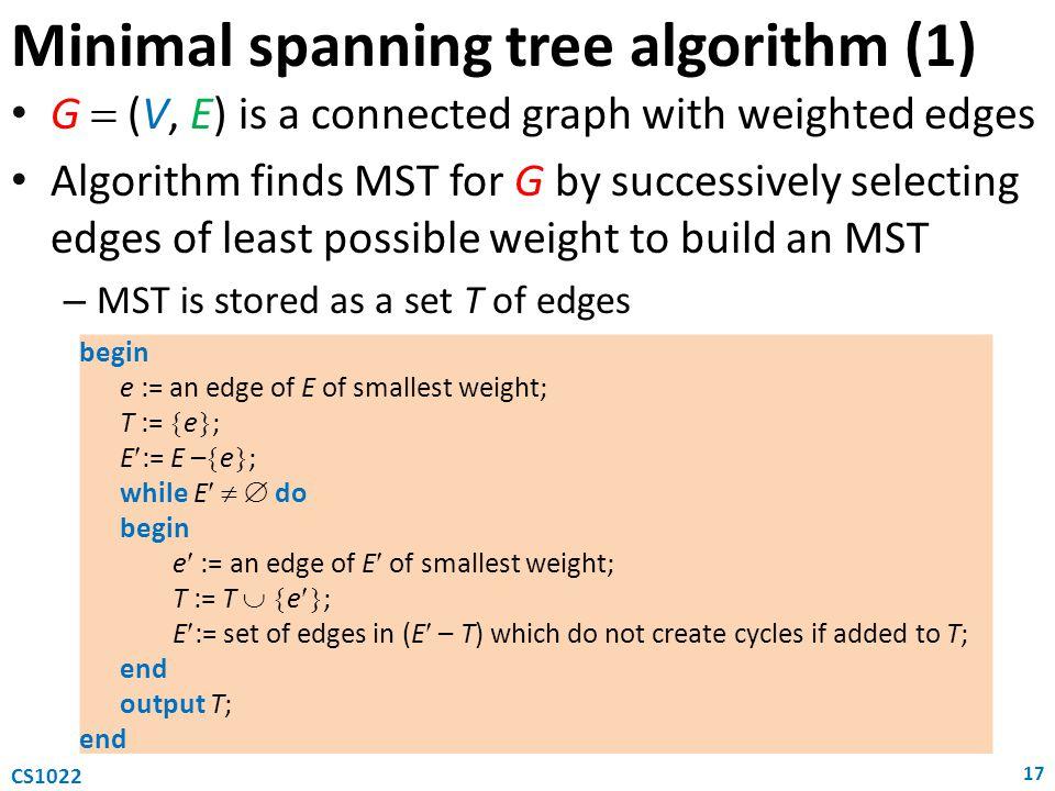 Minimal spanning tree algorithm (1)