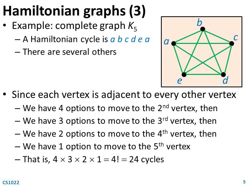 Hamiltonian graphs (3) a b e c d Example: complete graph K5