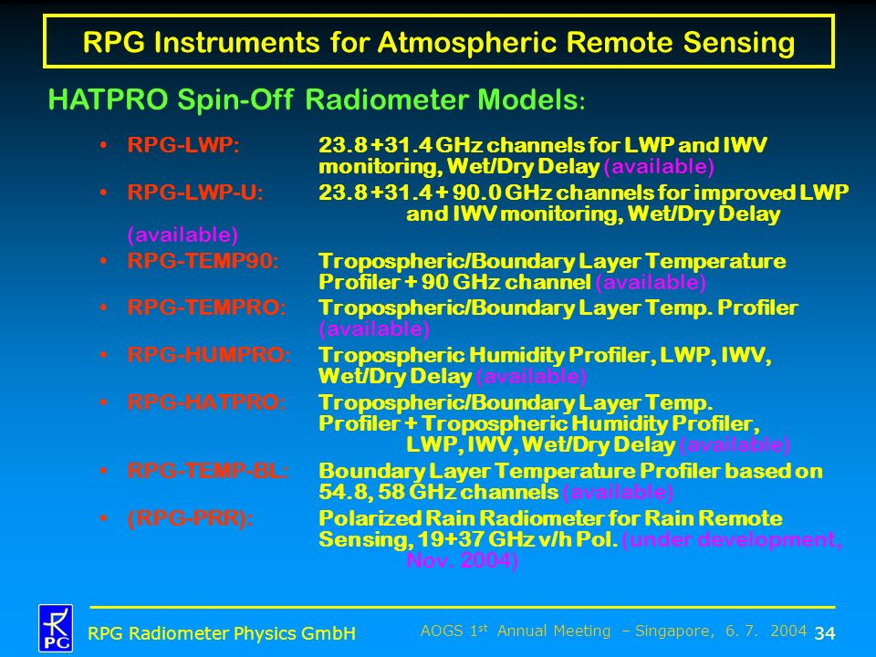 RPG Instruments for Atmospheric Remote Sensing