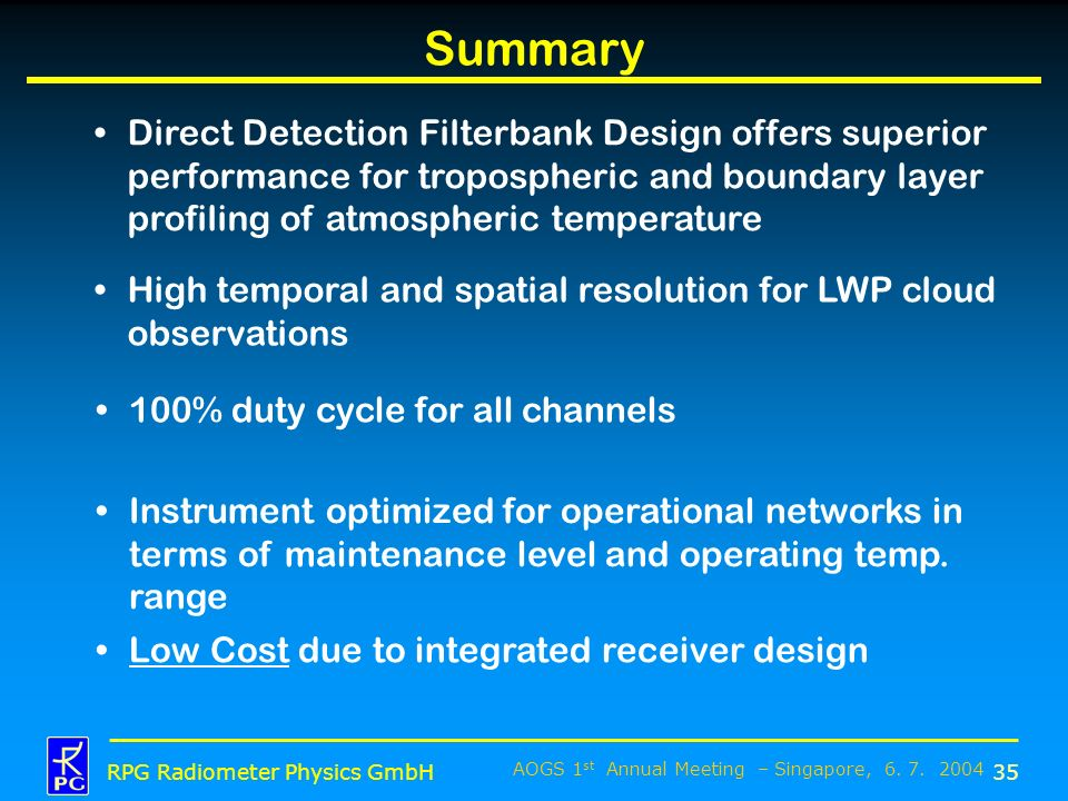 Summary Direct Detection Filterbank Design offers superior performance for tropospheric and boundary layer profiling of atmospheric temperature.