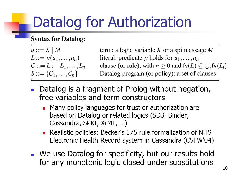 Datalog for Authorization