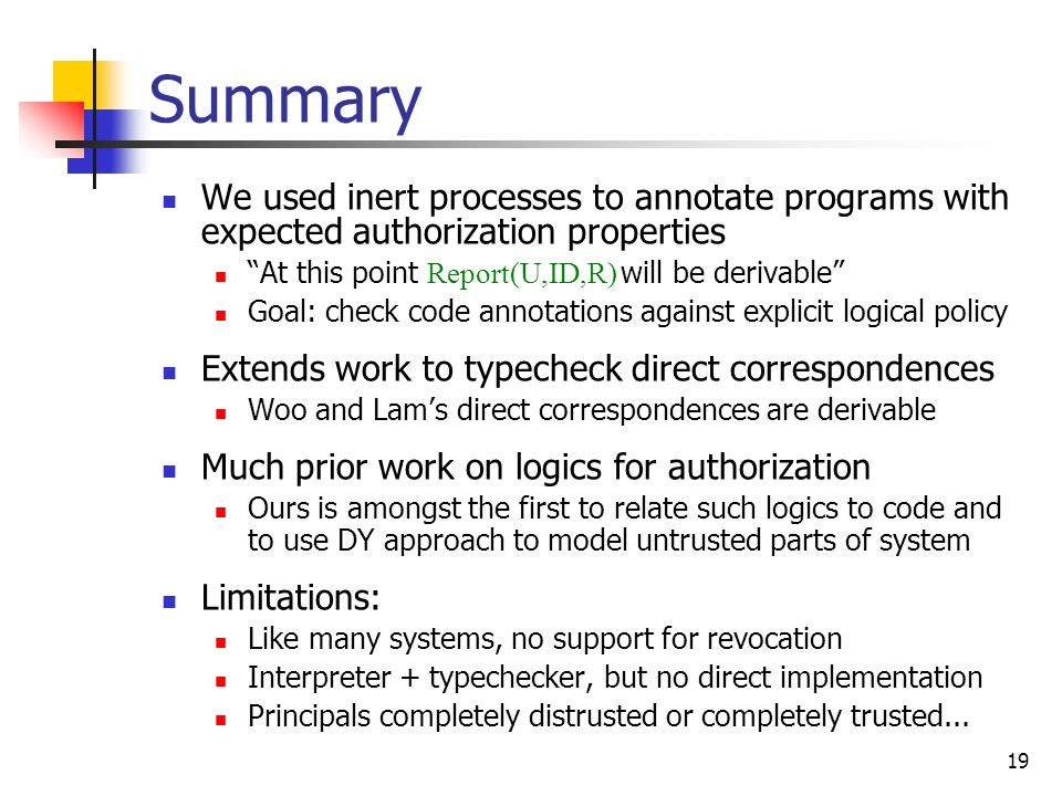 Summary We used inert processes to annotate programs with expected authorization properties. At this point Report(U,ID,R) will be derivable