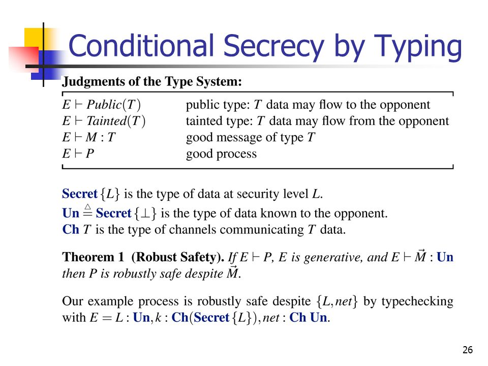 Conditional Secrecy by Typing