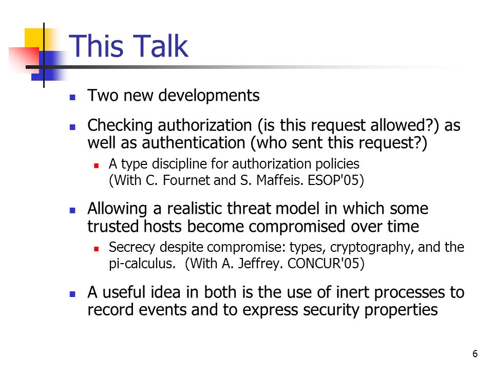 This Talk Two new developments