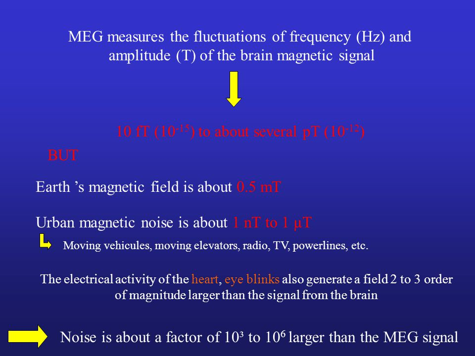 MEG measures the fluctuations of frequency (Hz) and