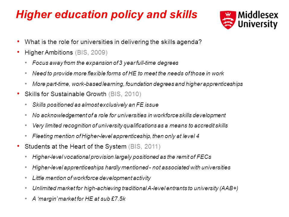 Higher education policy and skills