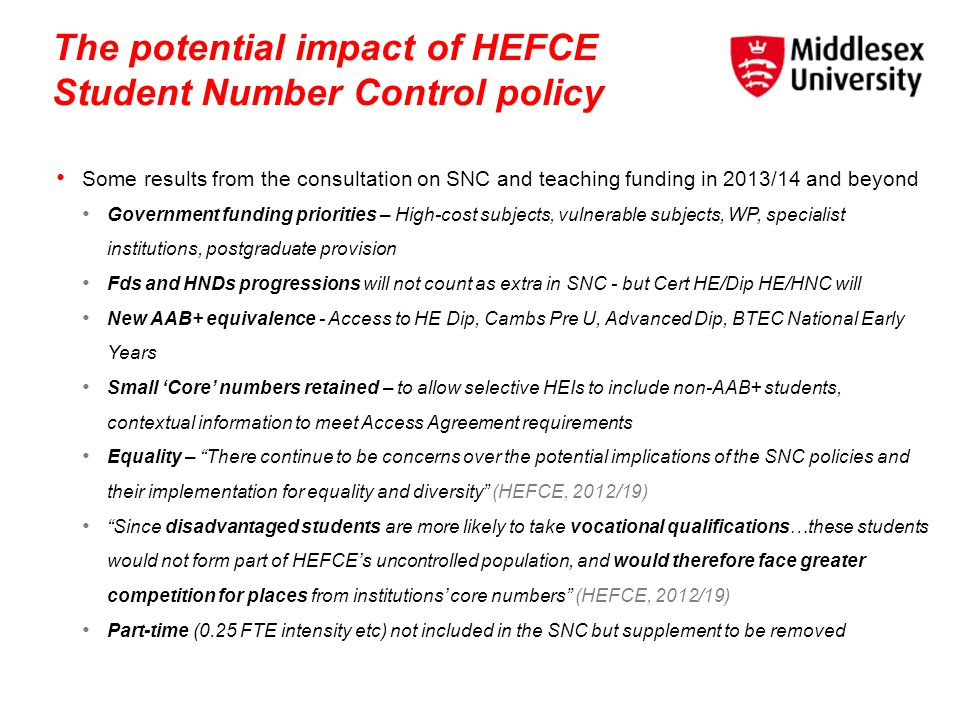 The potential impact of HEFCE Student Number Control policy