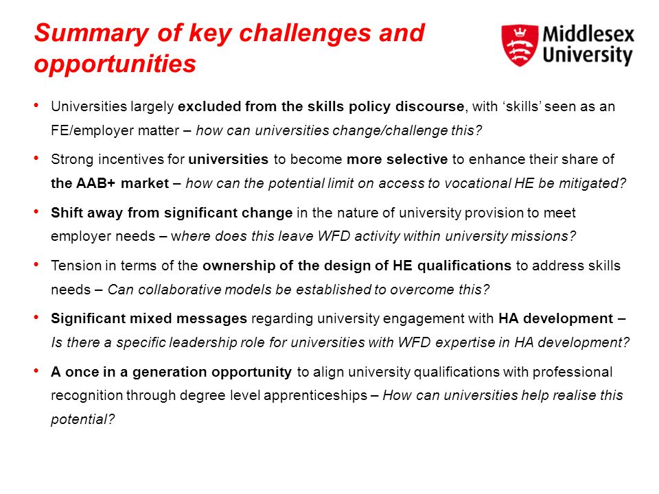 Summary of key challenges and opportunities