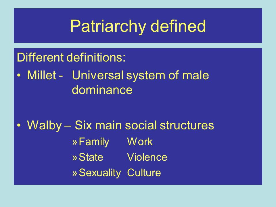 Patriarchy defined Different definitions: