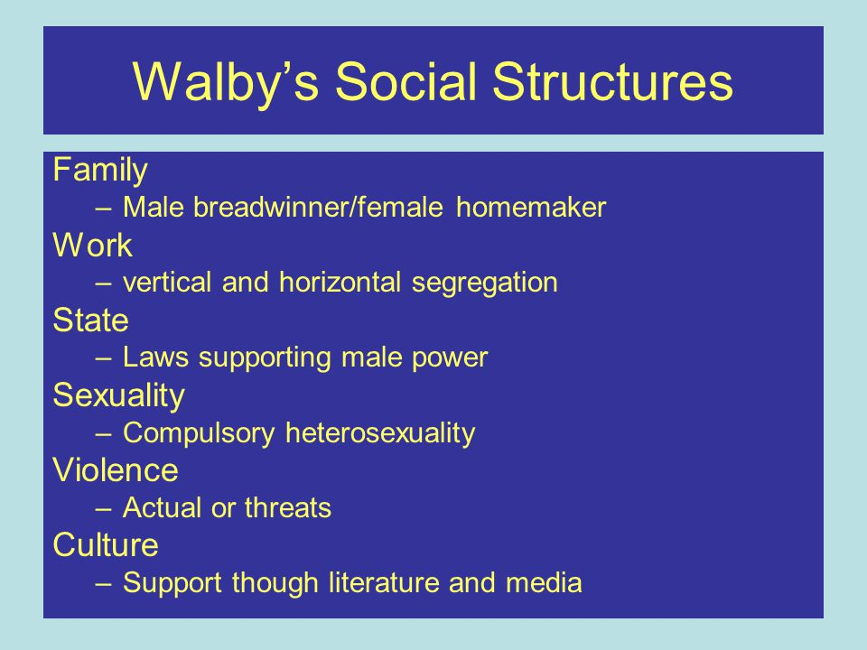 Walby's Social Structures