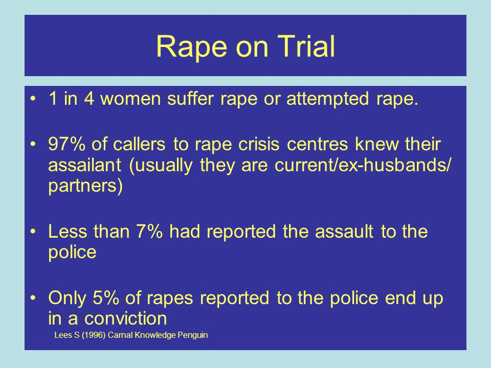 Rape on Trial 1 in 4 women suffer rape or attempted rape.