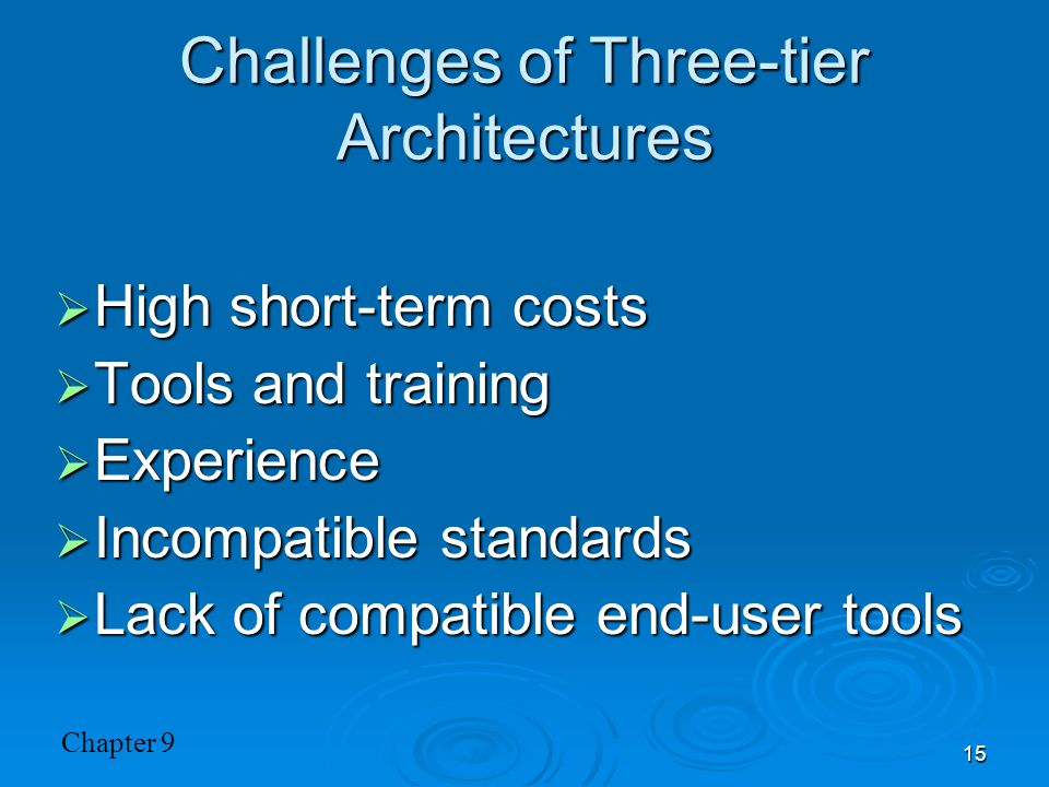 Challenges of Three-tier Architectures