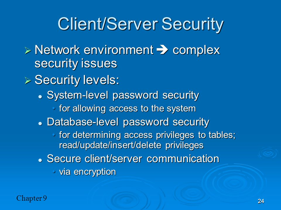 Client/Server Security