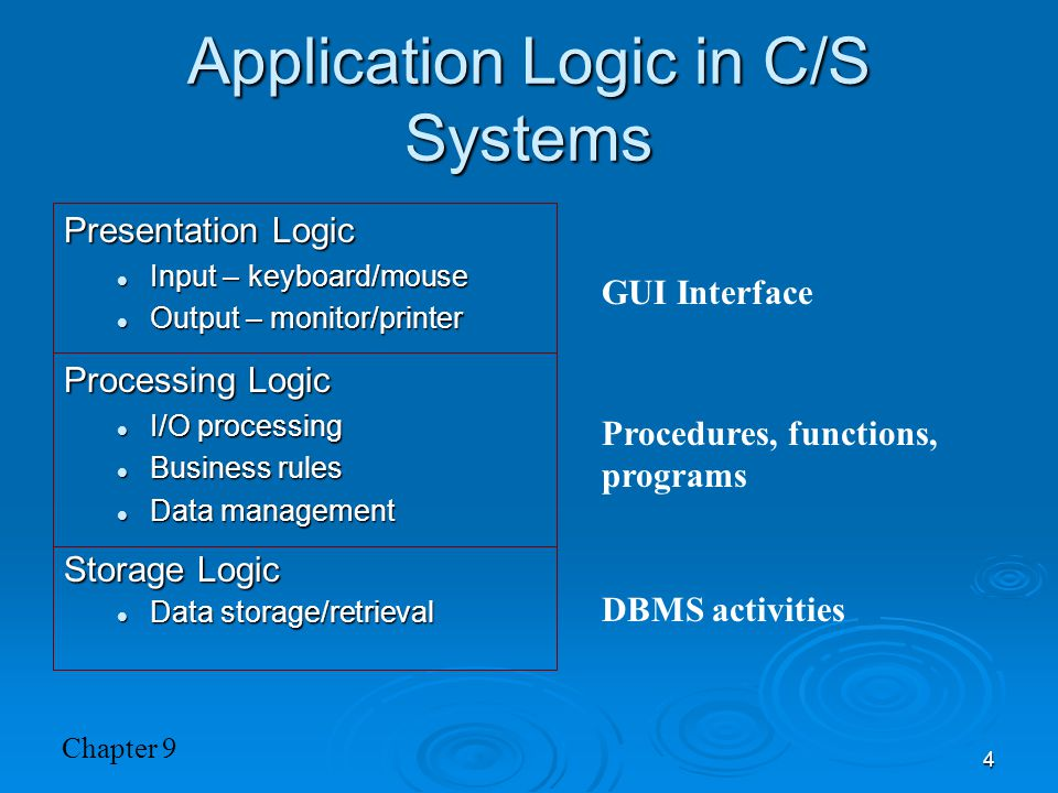Application Logic in C/S Systems
