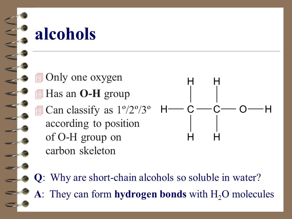 alcohols Only one oxygen Has an O-H group