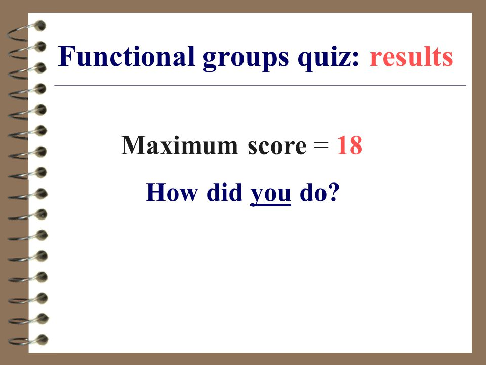 Functional groups quiz: results