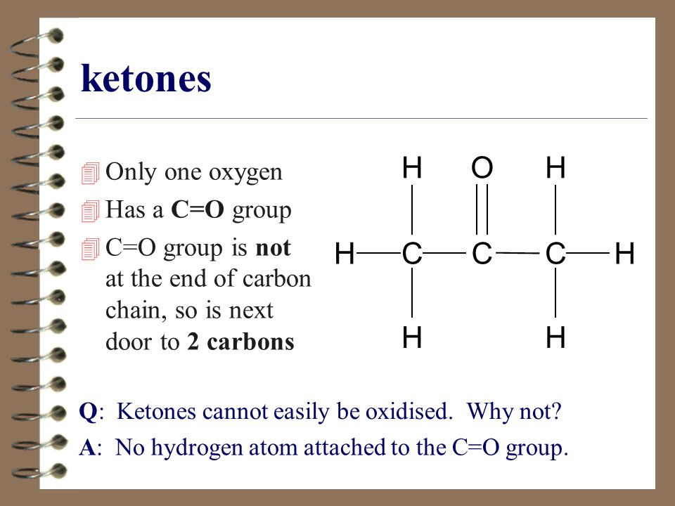 ketones C H O Only one oxygen Has a C=O group