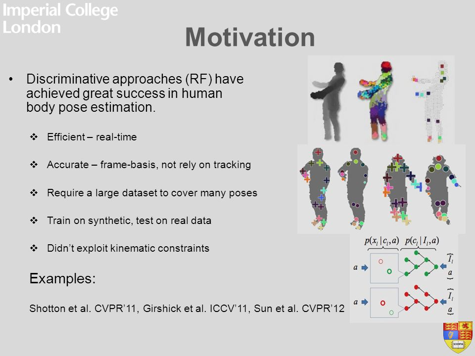 Motivation Discriminative approaches (RF) have achieved great success in human body pose estimation.