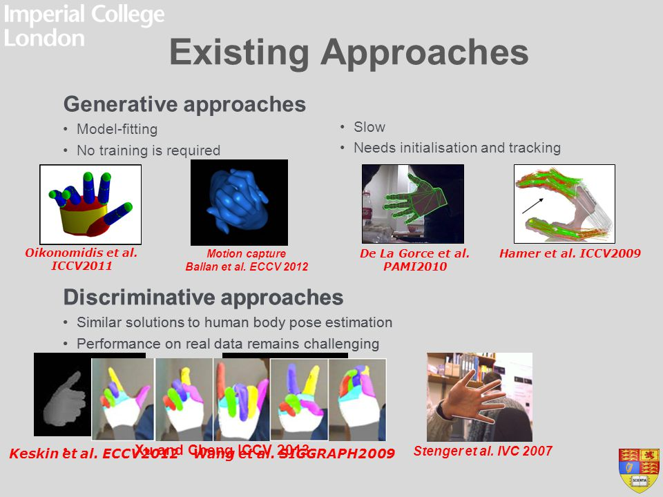 Existing Approaches Generative approaches Discriminative approaches
