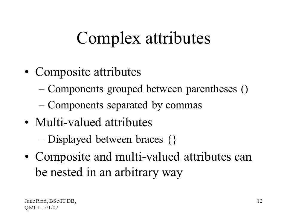 Complex attributes Composite attributes Multi-valued attributes