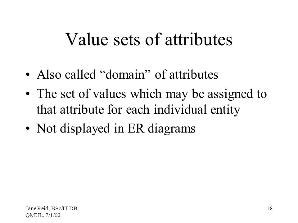 Value sets of attributes