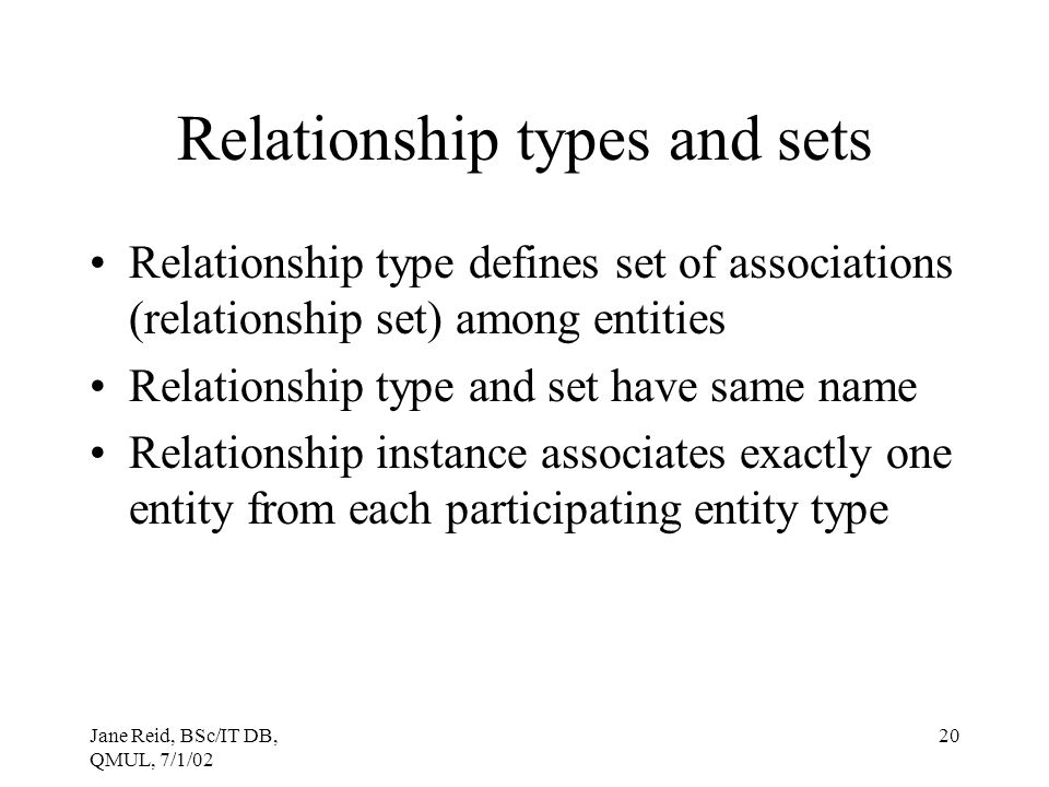 Relationship types and sets