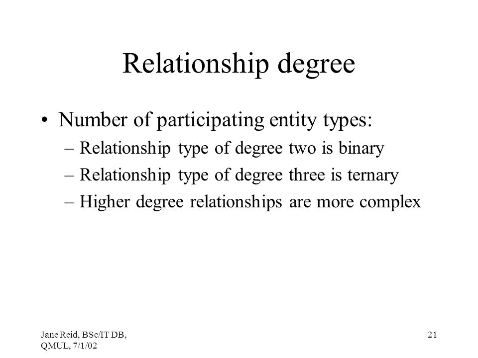 Relationship degree Number of participating entity types:
